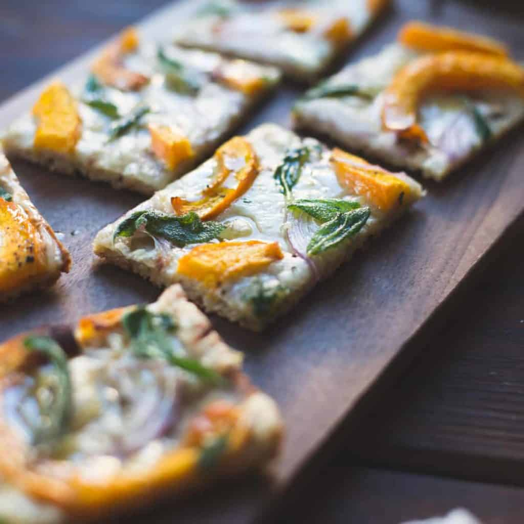close up of Pumpkin Flatbread with Gruyere and Crispy Sage {gluten-free}