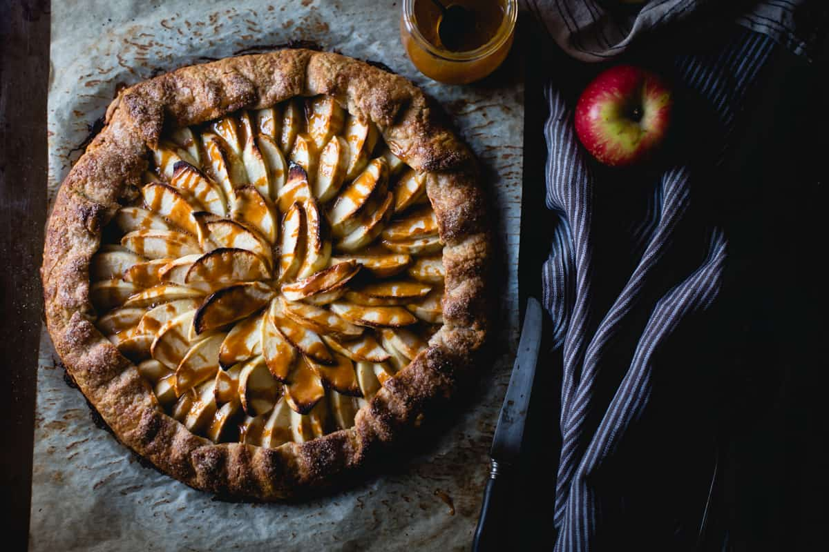 Apple Galette Rum Spiced Dulce de Leche {gluten-free} on table