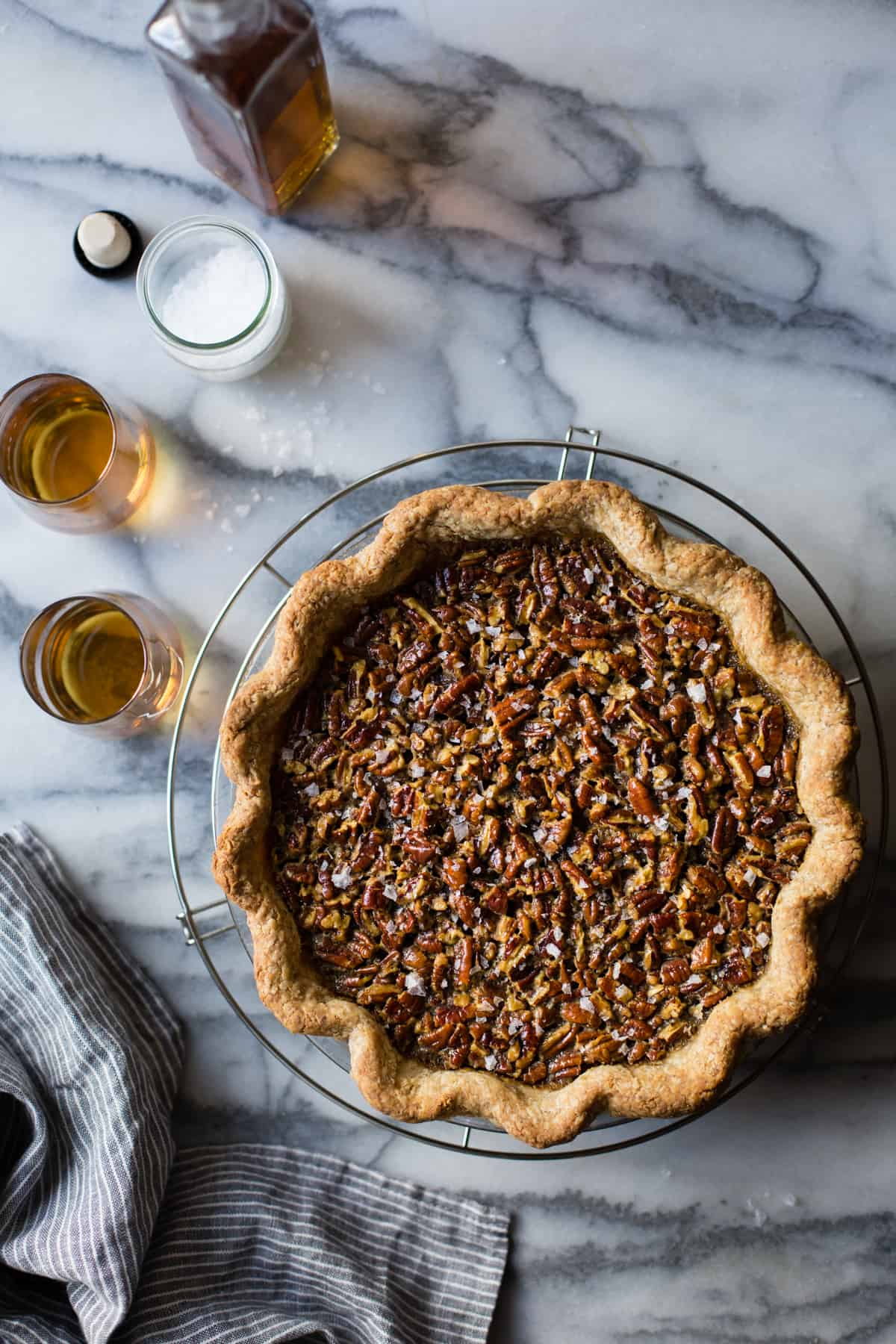 Bourbon Sorghum Pecan Pie {with a gluten-free sorghum crust} on wire rack