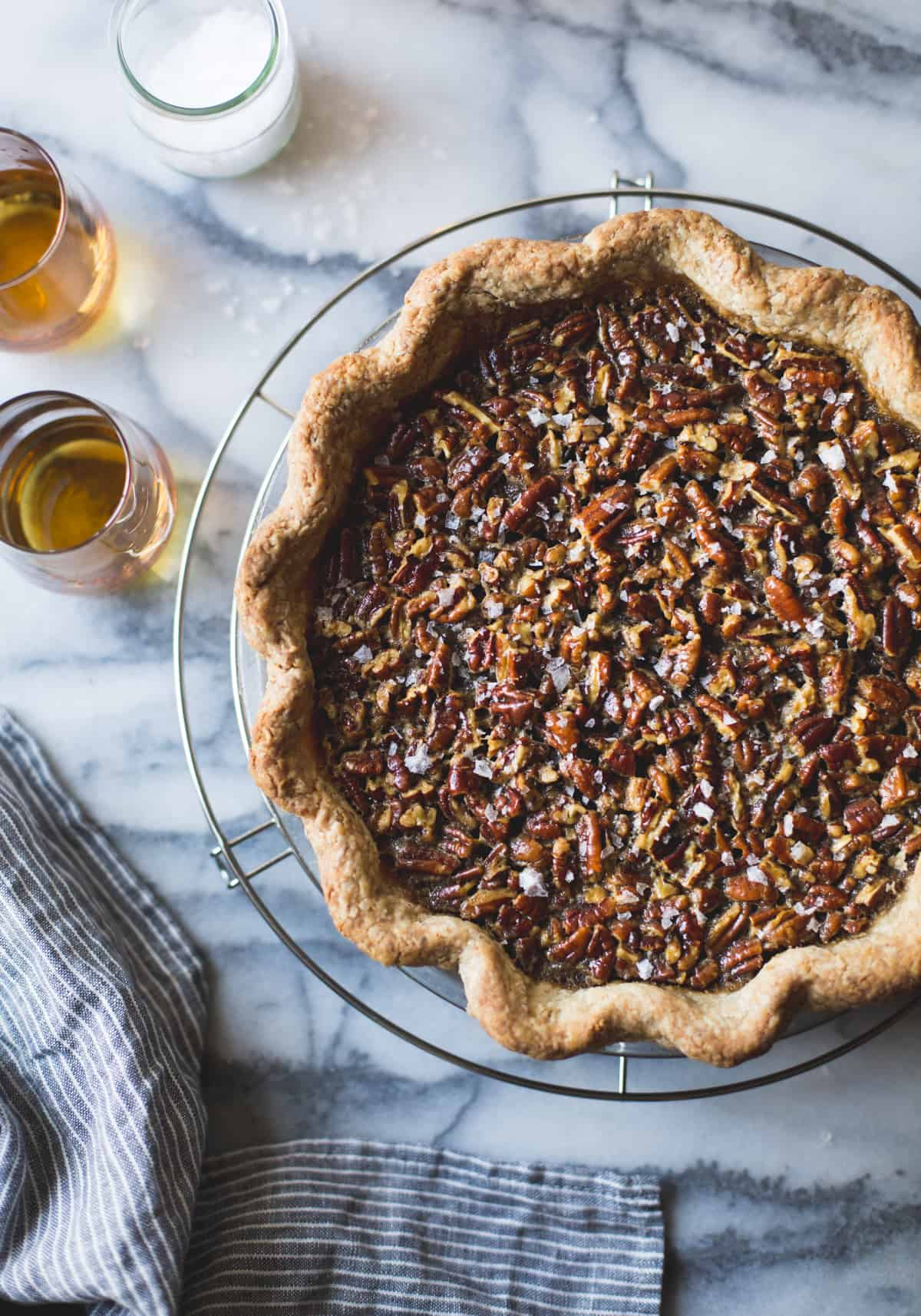 Bourbon Sorghum Pecan Pie {with a gluten-free sorghum crust} on table