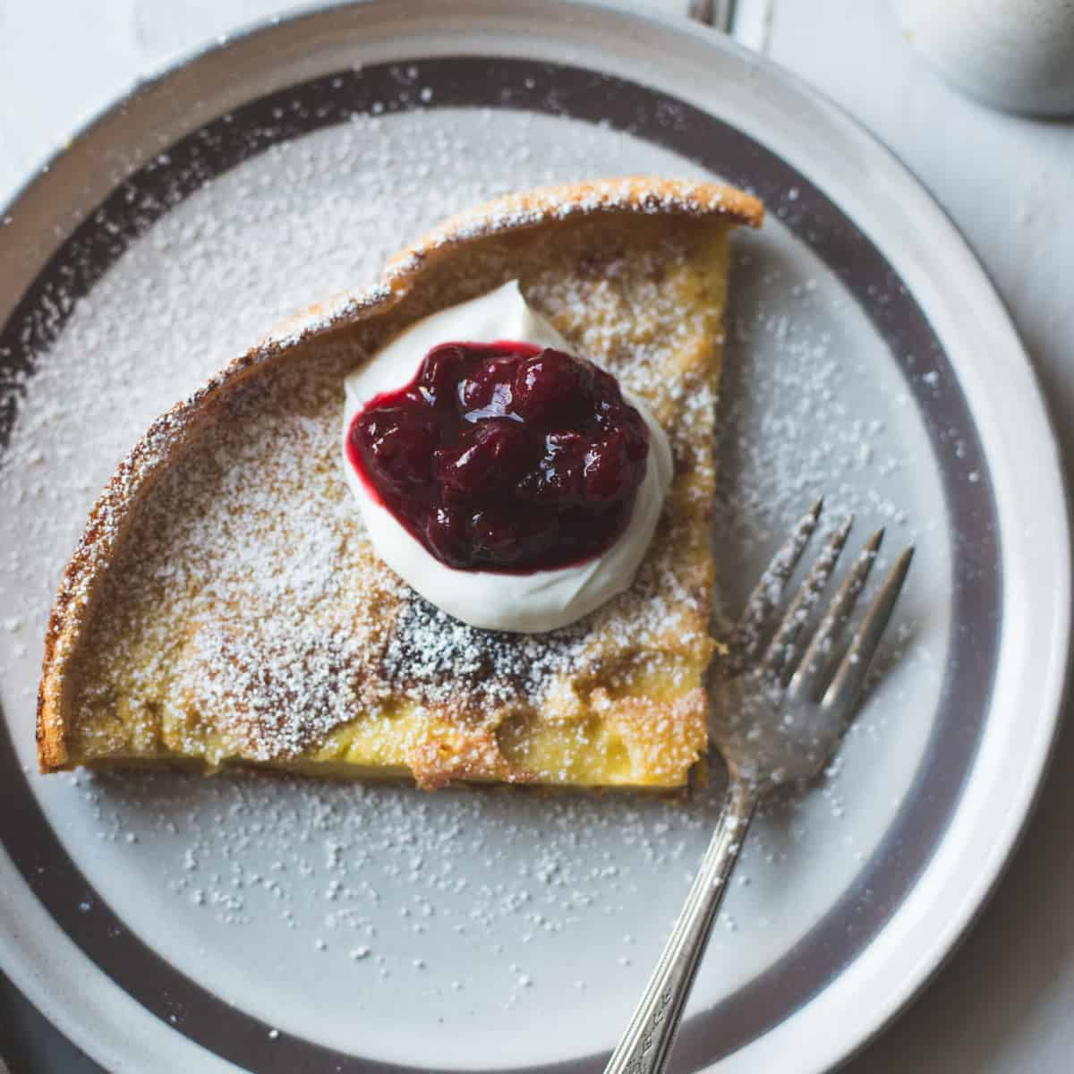 Gluten-Free Sorghum Buttermilk Dutch Baby, Maple Cranberry Sauce on crepe