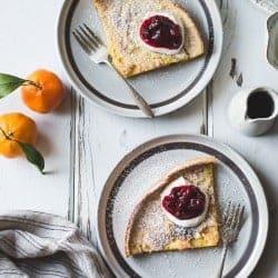 Gluten-Free Sorghum Buttermilk Dutch Baby, Maple Cranberry Sauce