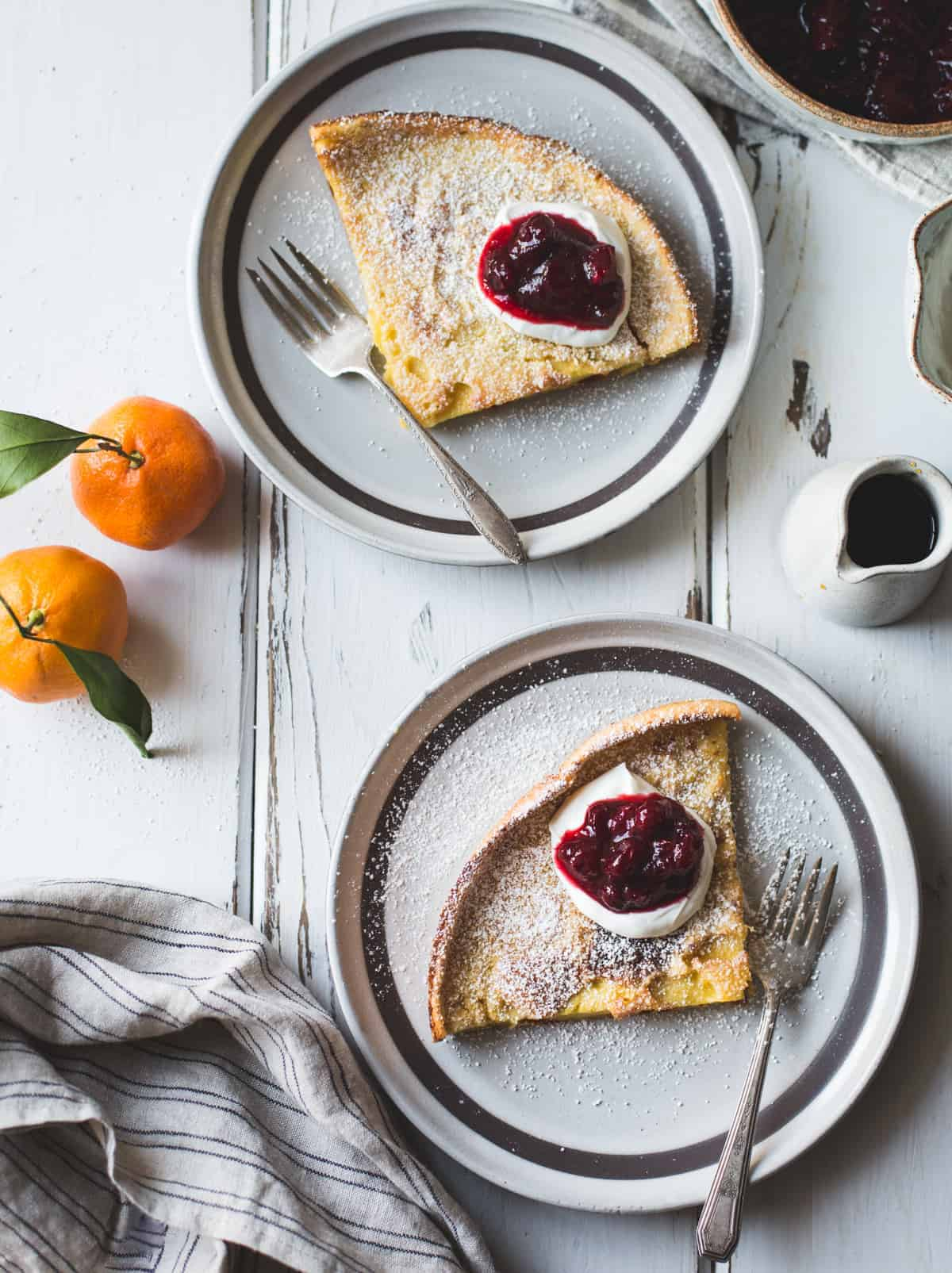 Gluten-Free Sorghum Buttermilk Dutch Baby topped with Maple Cranberry Sauce