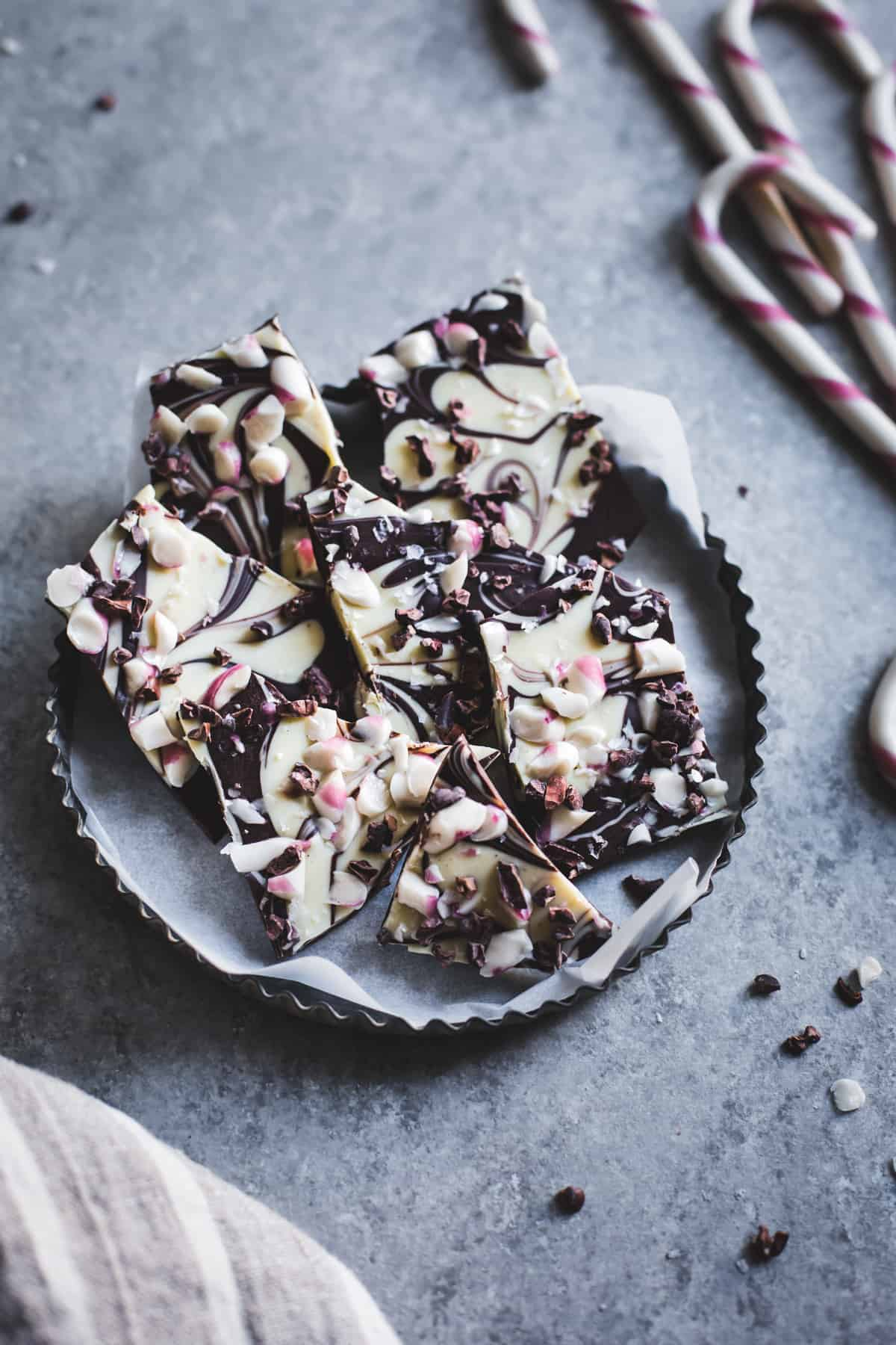 chunk s of All-Natural Dark Chocolate Peppermint Bark with Cacao Nibs and Flaky Salt