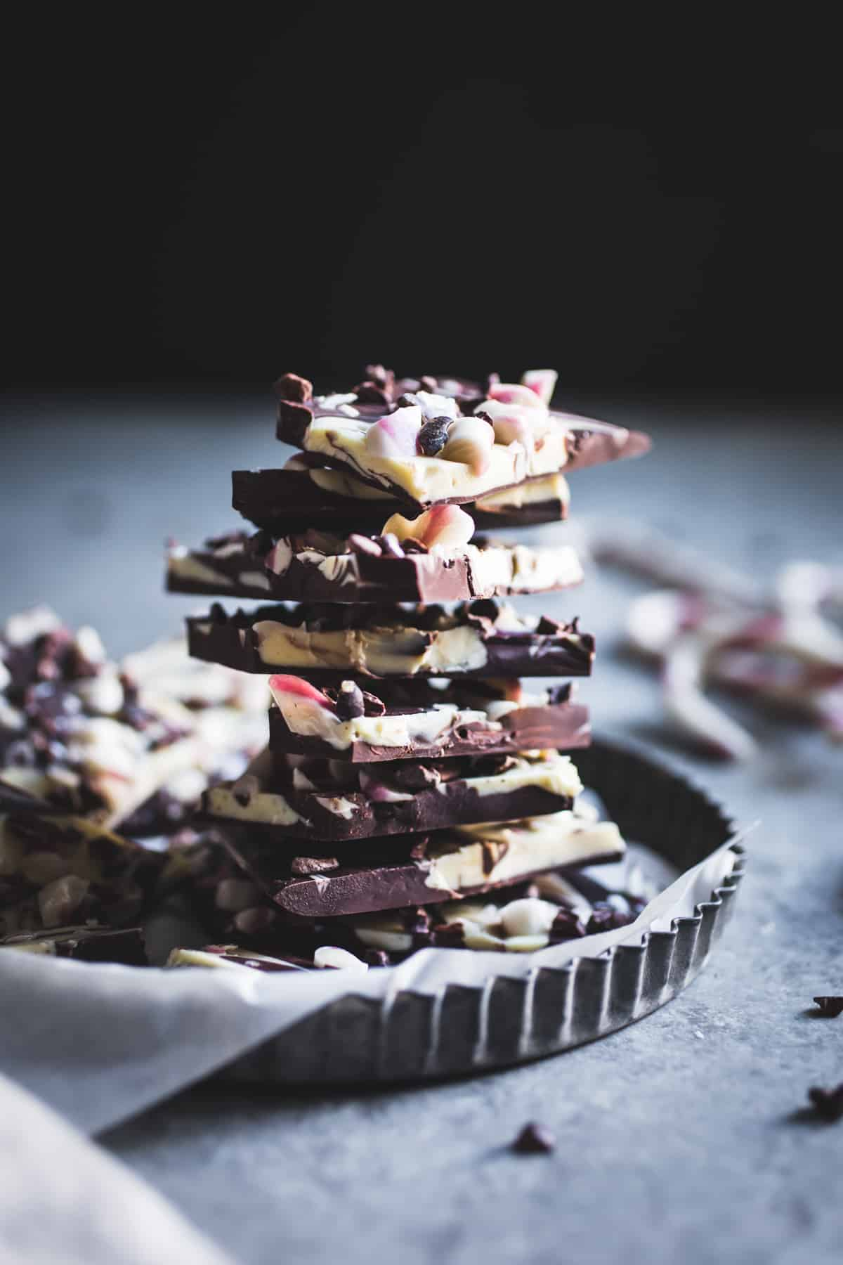 pile of delicious Dark & Nibby Chocolate Peppermint Bark {all-natural}