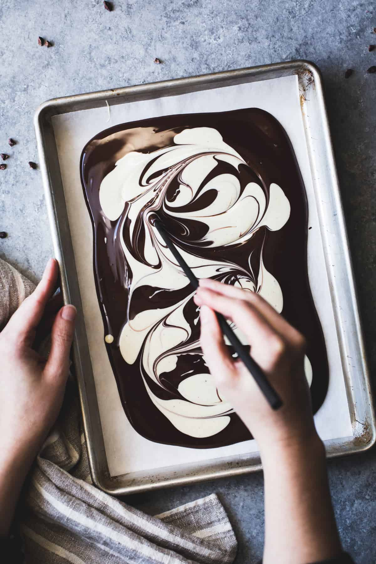 swirling chocolate