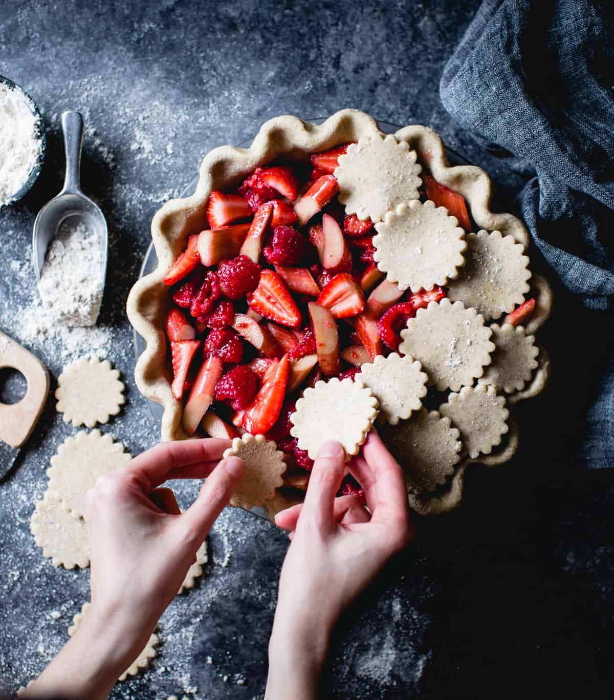 Strawberry Raspberry Rhubarb Pie, Alternative Baker Coobook