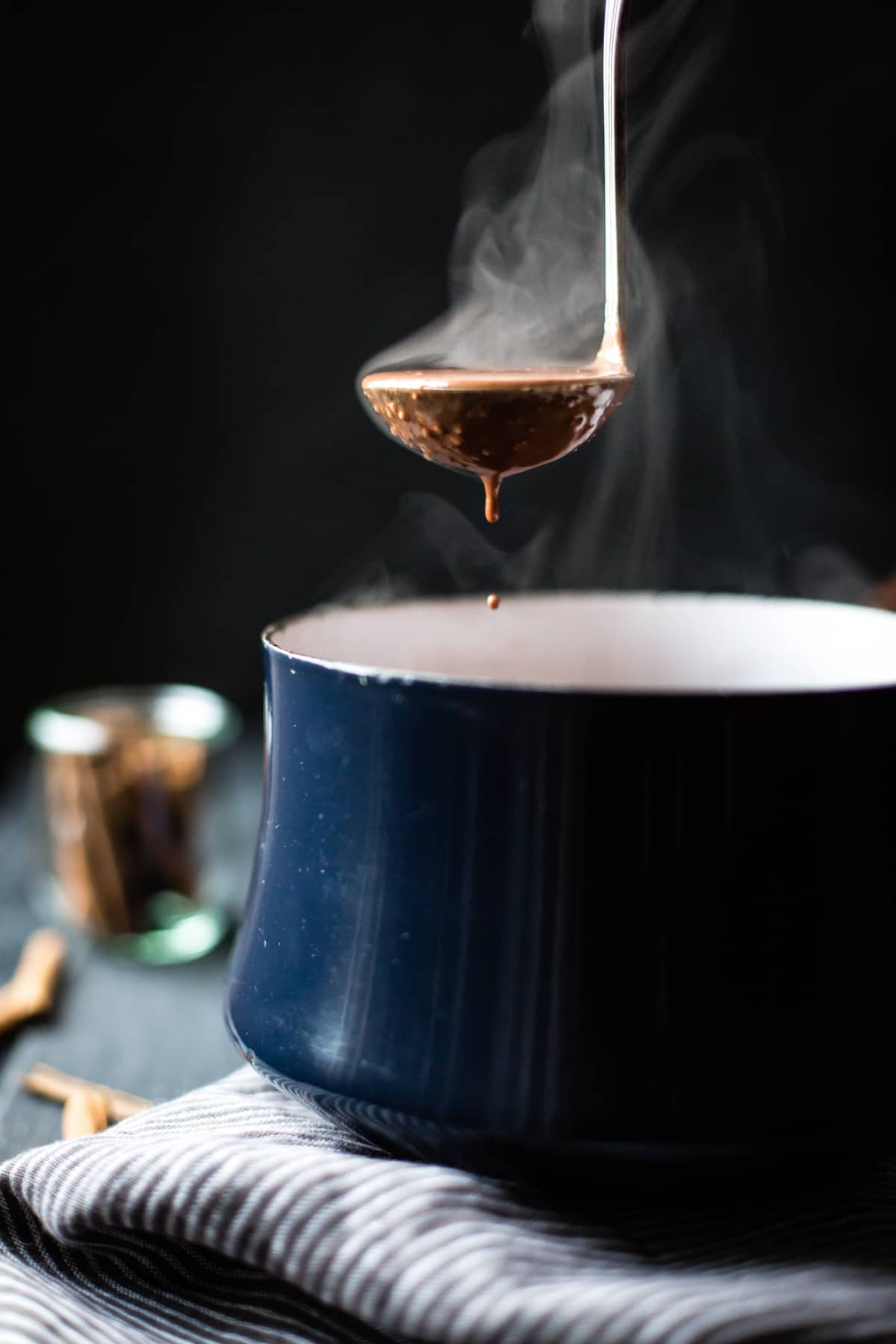 Vegan Champurrado {Mexican Hot Chocolate Atole} in ladle