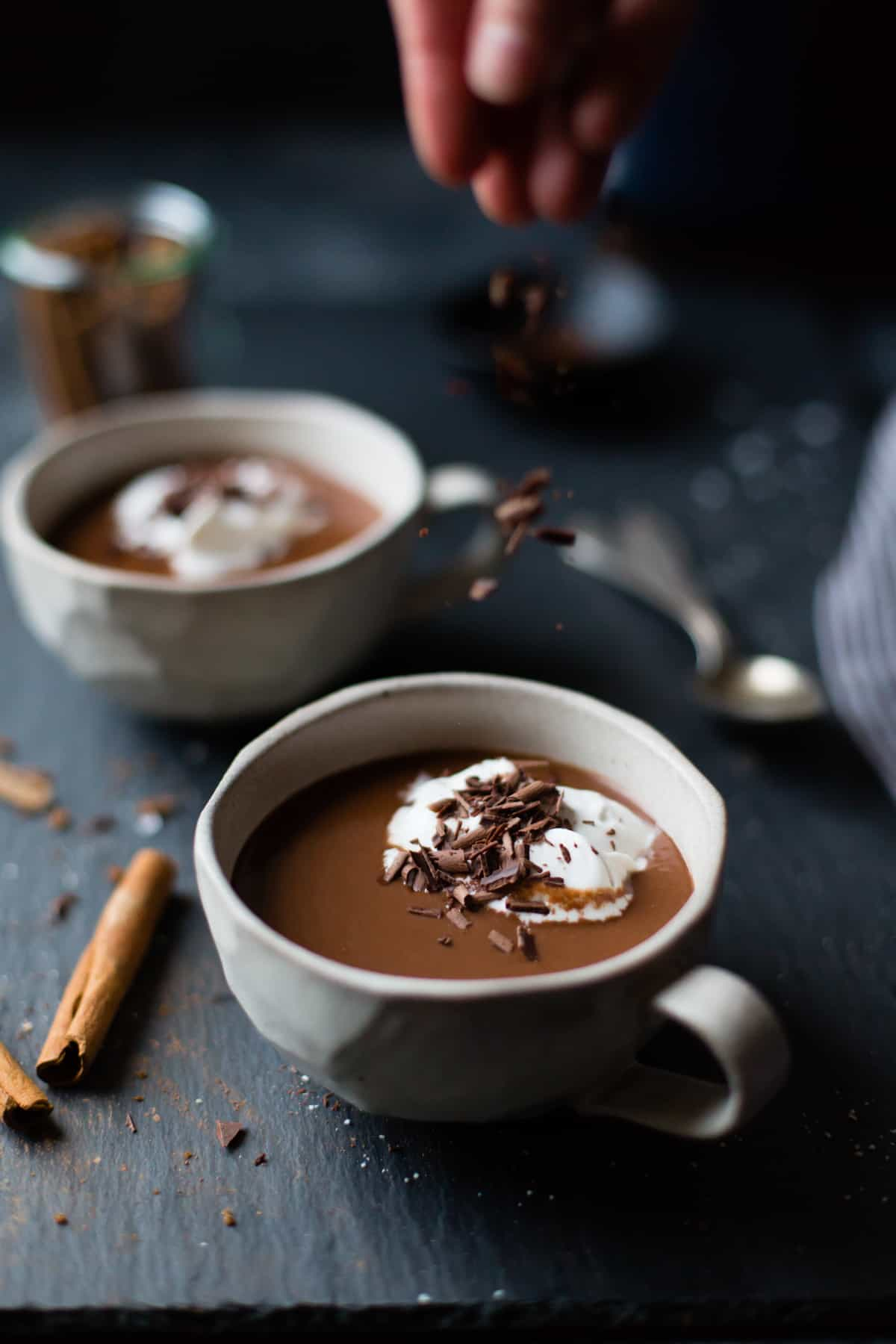 chocolate sprinkled on Vegan Champurrado {Mexican Hot Chocolate Atole}