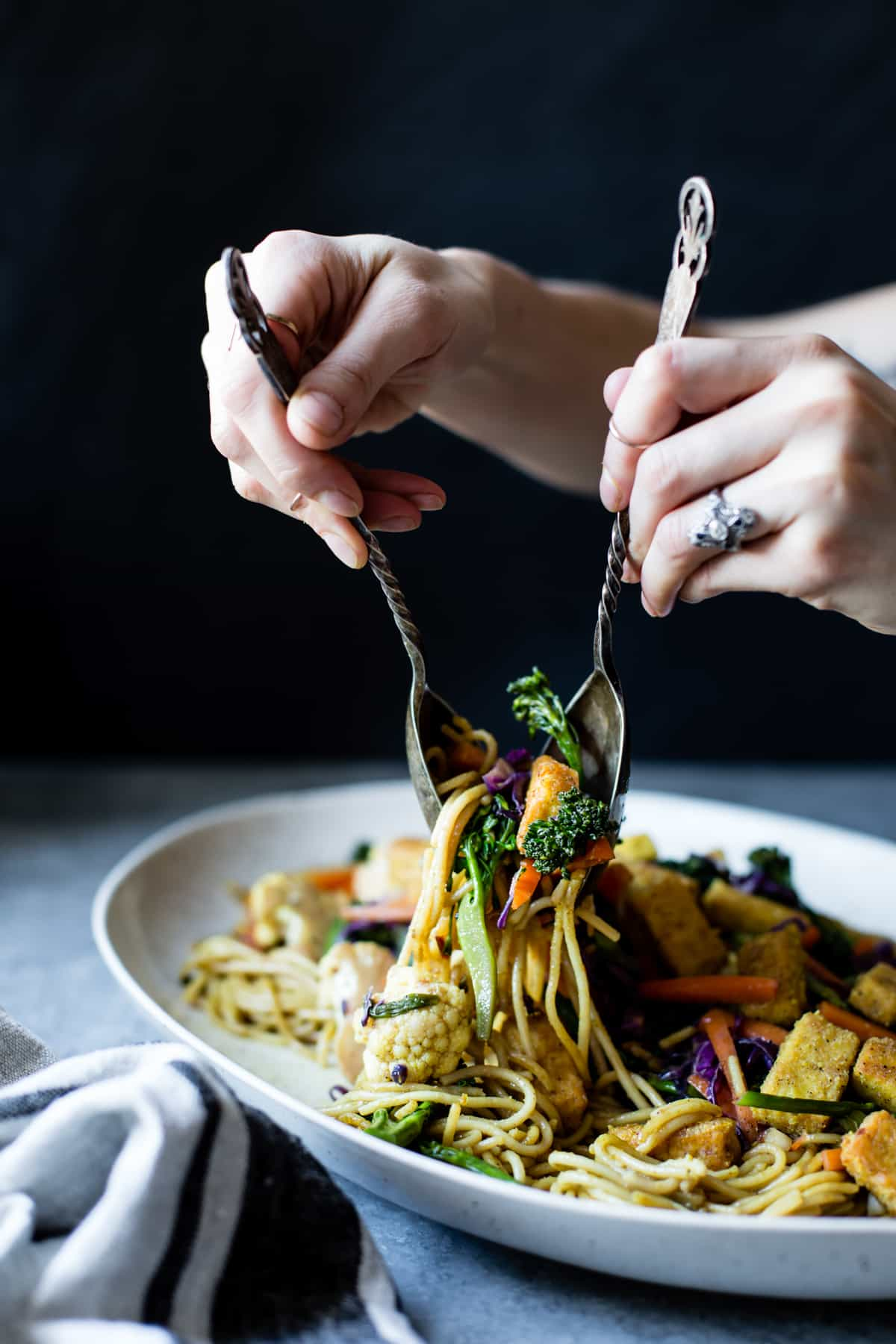 Curried Noodles with Crispy Tofu & Winter Vegetables {gluten-free & vegan}