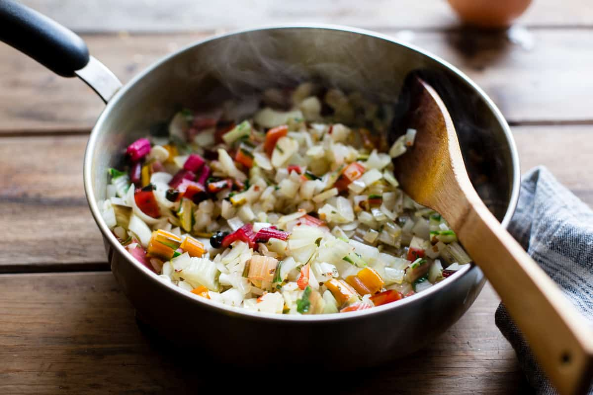diced veg in pot