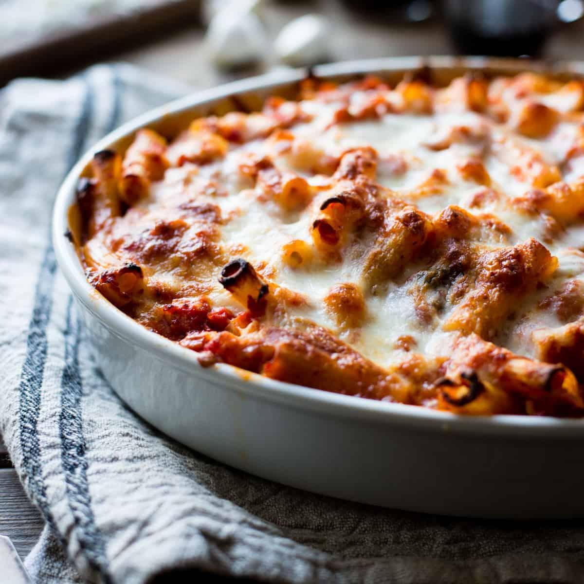 cheesy baked chard rigatoni {gluten-free}