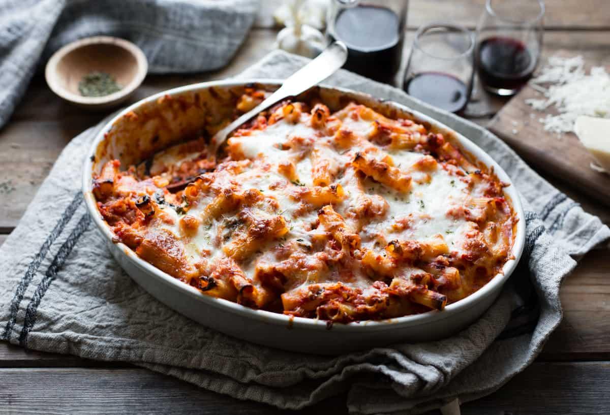 big dish of cheesy baked chard rigatoni {gluten-free}