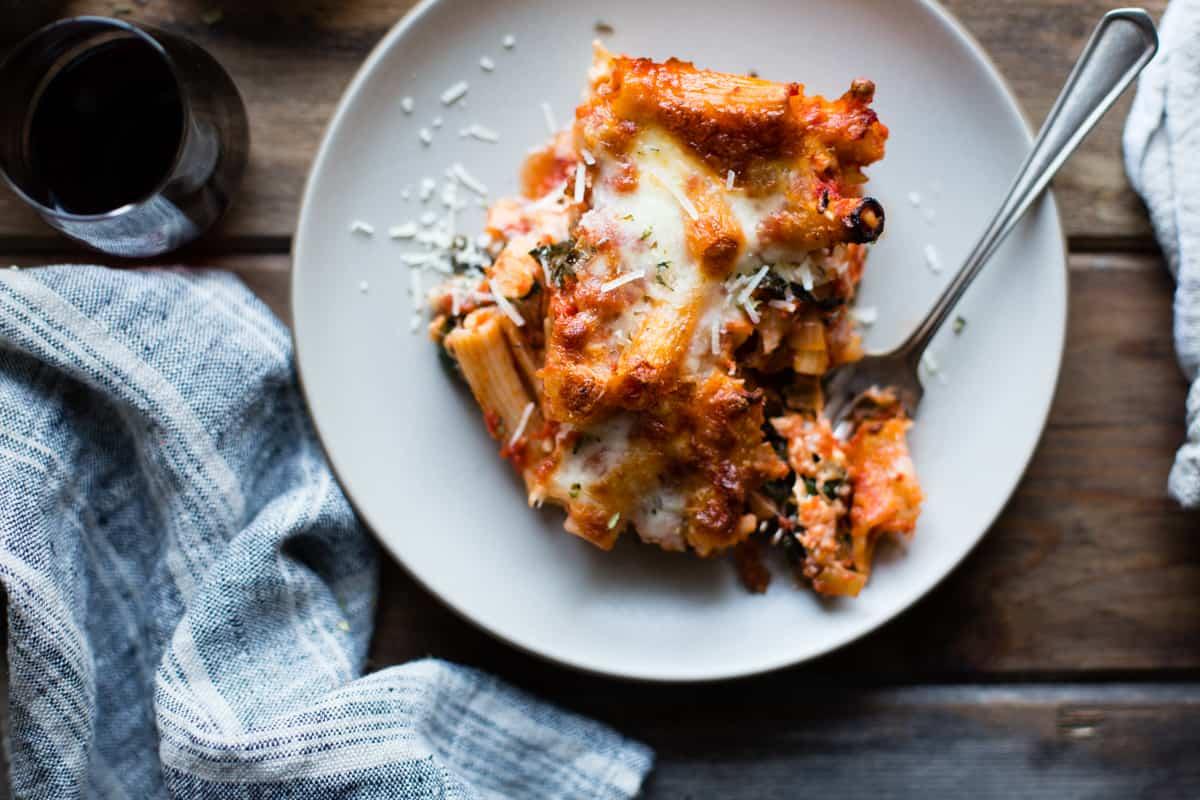 plate of cheesy baked chard rigatoni {gluten-free}