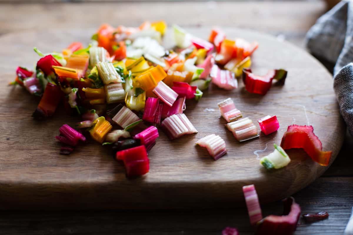 diced veg on board