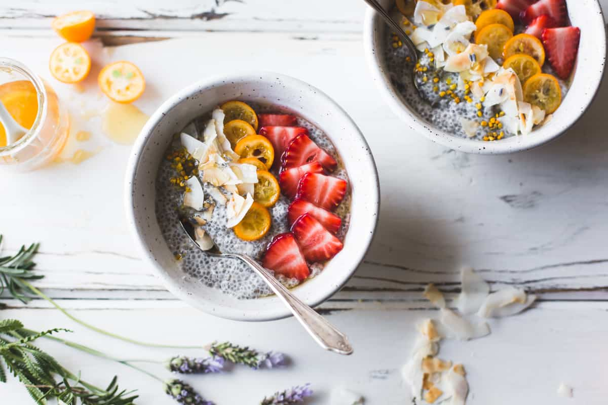 2 delicious bowls of Chia Pudding Breakfast Bowls with Kumquats, Berries & Lavender Honey {gluten-free, dairy-free}