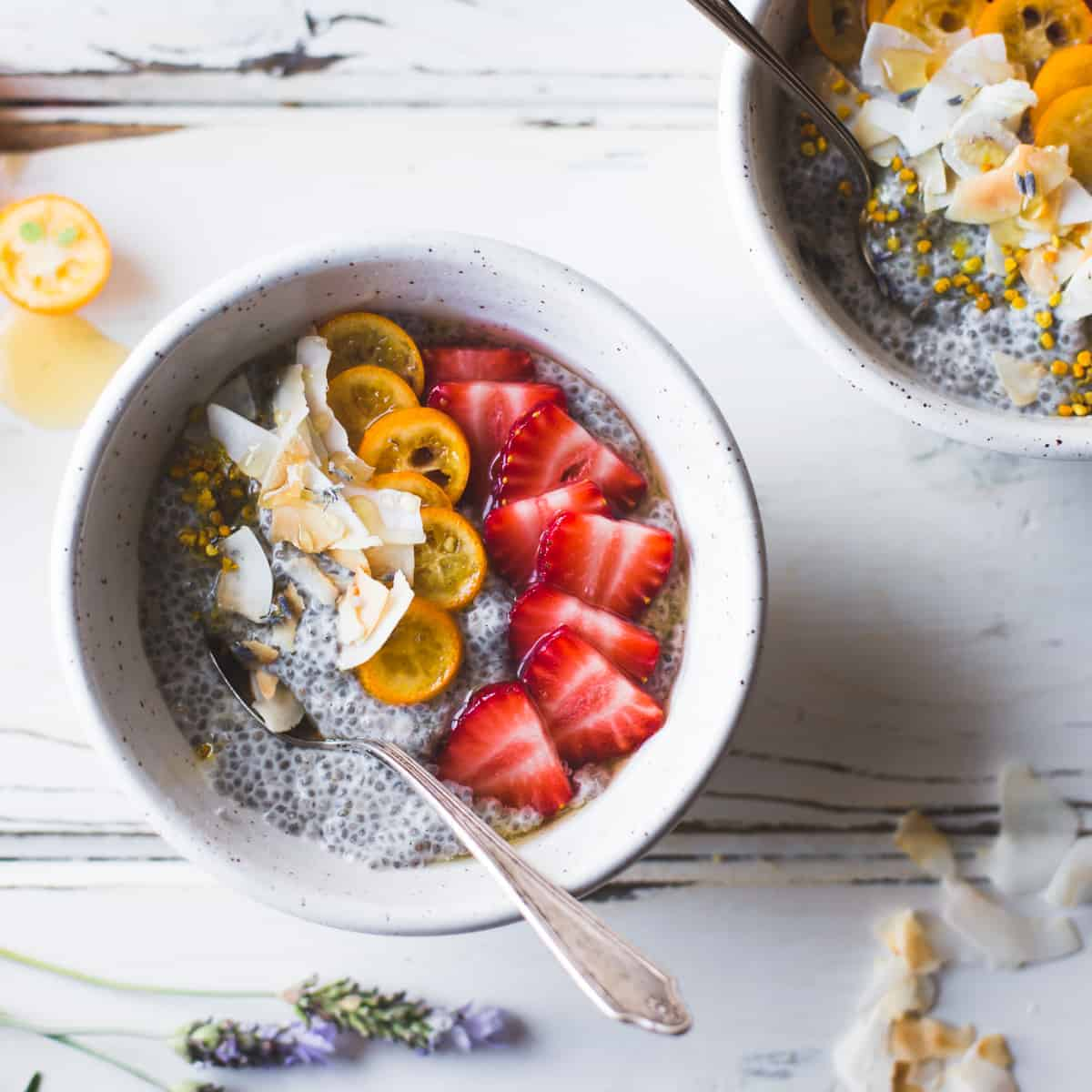 delicious Chia Pudding Breakfast Bowls with Kumquats, Berries & Lavender Honey {gluten-free, dairy-free}