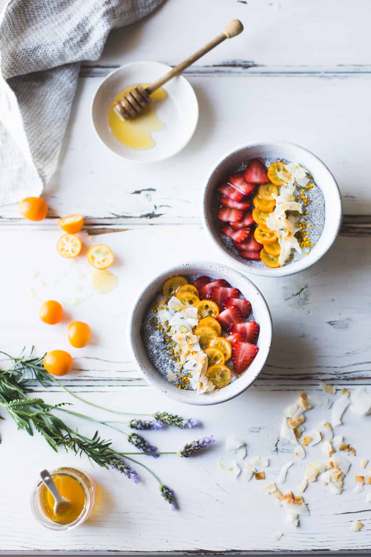 Chia Pudding Breakfast Bowls with Kumquats, Berries & Lavender Honey {gluten-free, dairy-free} and honey