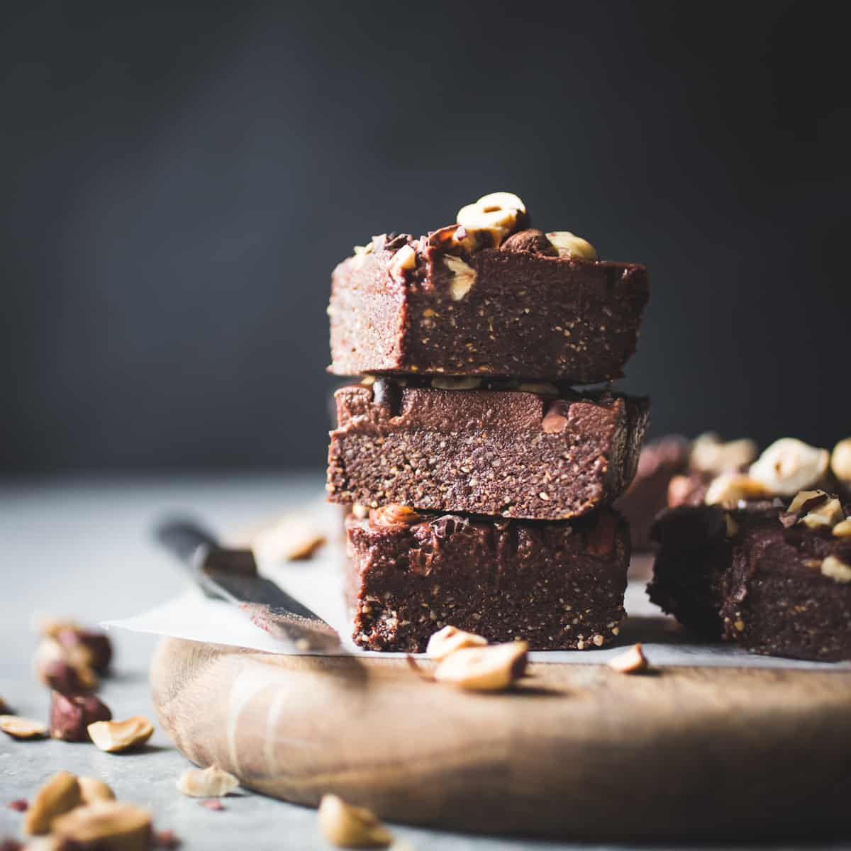 stack of No-Bake Hazelnut Date Brownies {gluten-free, vegan, refined sugar-free}