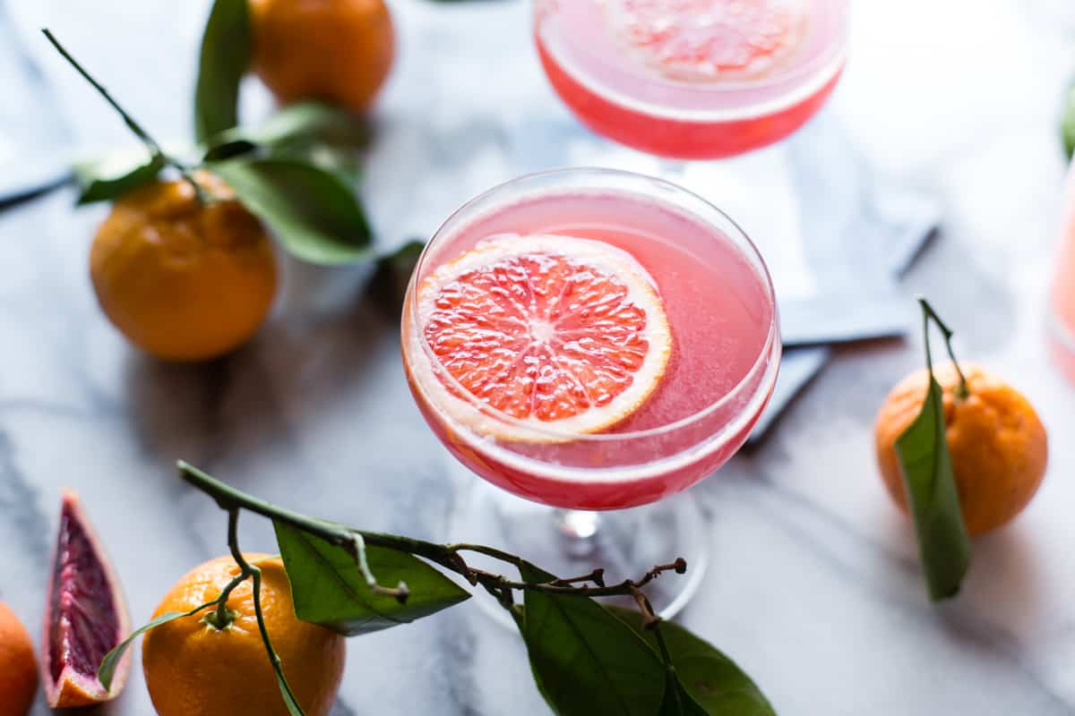 Sparkling Citrus, Lillet & Prosecco Punch with orange slice