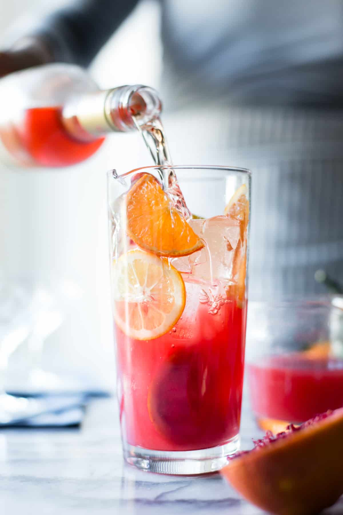 Sparkling Citrus, Lillet & Prosecco Punch with orange