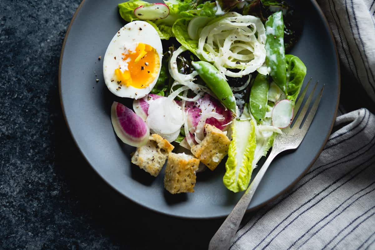 spring greens salad with fennel, radish, and miso-buttermilk dressing