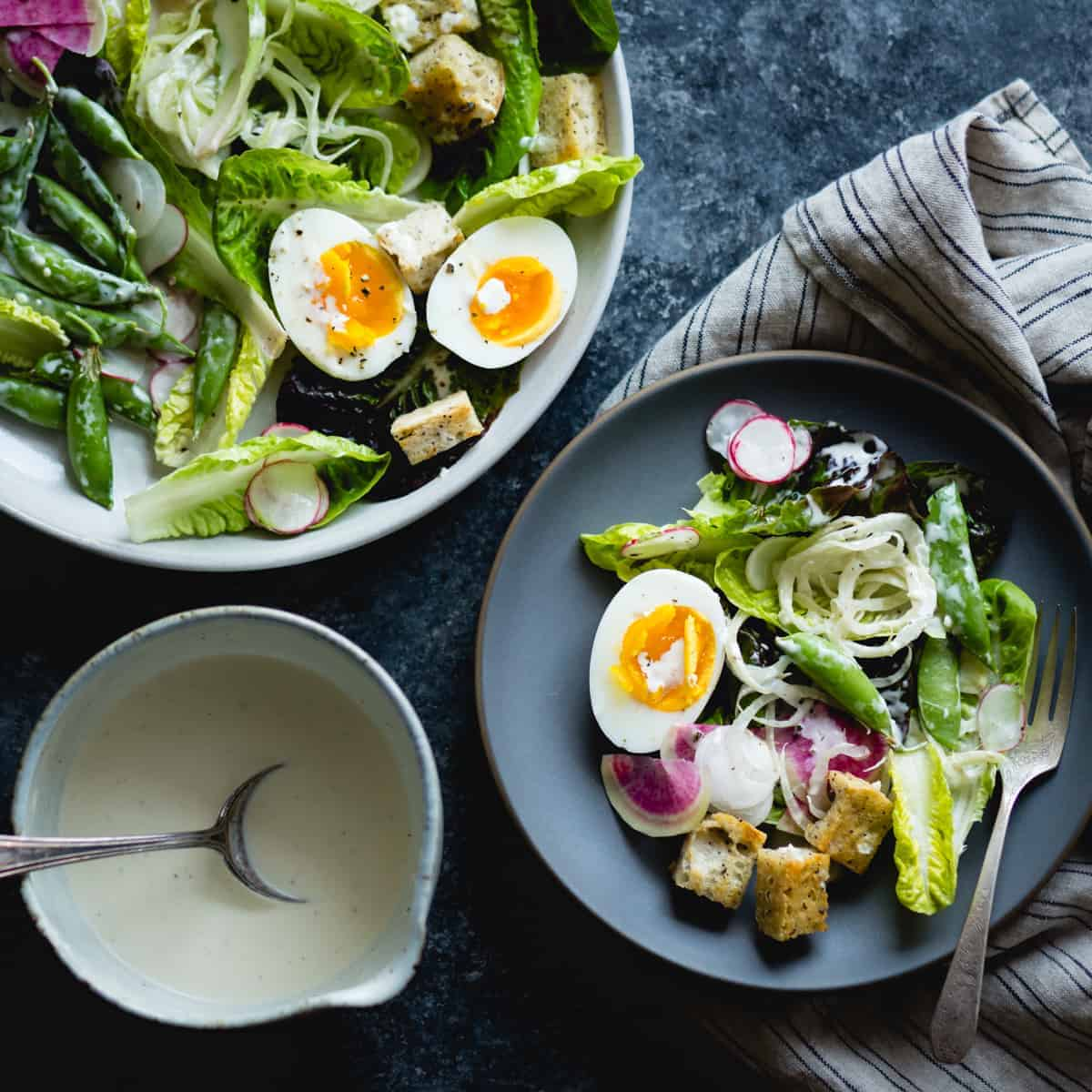 fresh spring greens salad with fennel, radish, and miso-buttermilk dressing