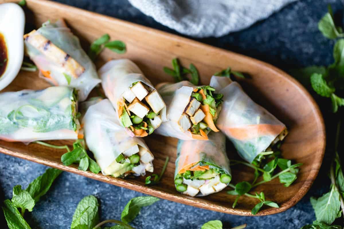 Tofu Asparagus Spring Rolls {vegetarian, vegan, gluten-free) on tray