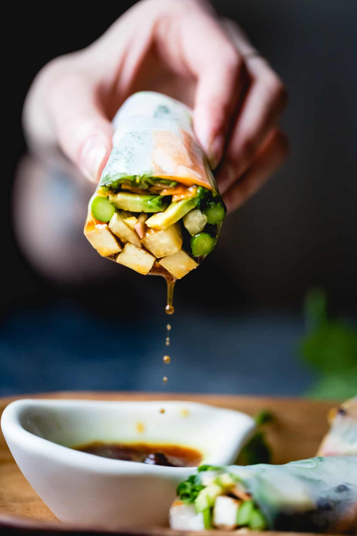 Grilled Asparagus Tofu Spring Rolls in Ginger-Lime Dipping Sauce