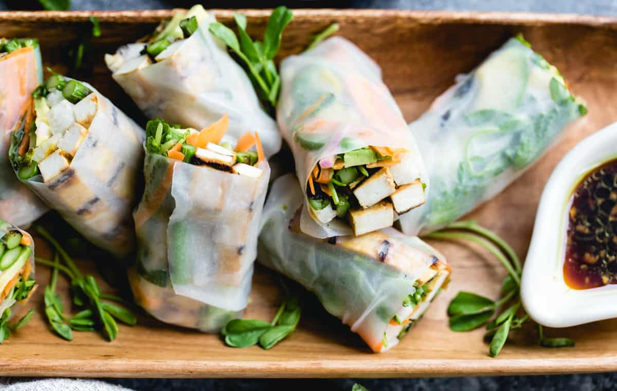 delicious Grilled Asparagus Tofu Spring Rolls with Ginger-Lime Dipping Sauce