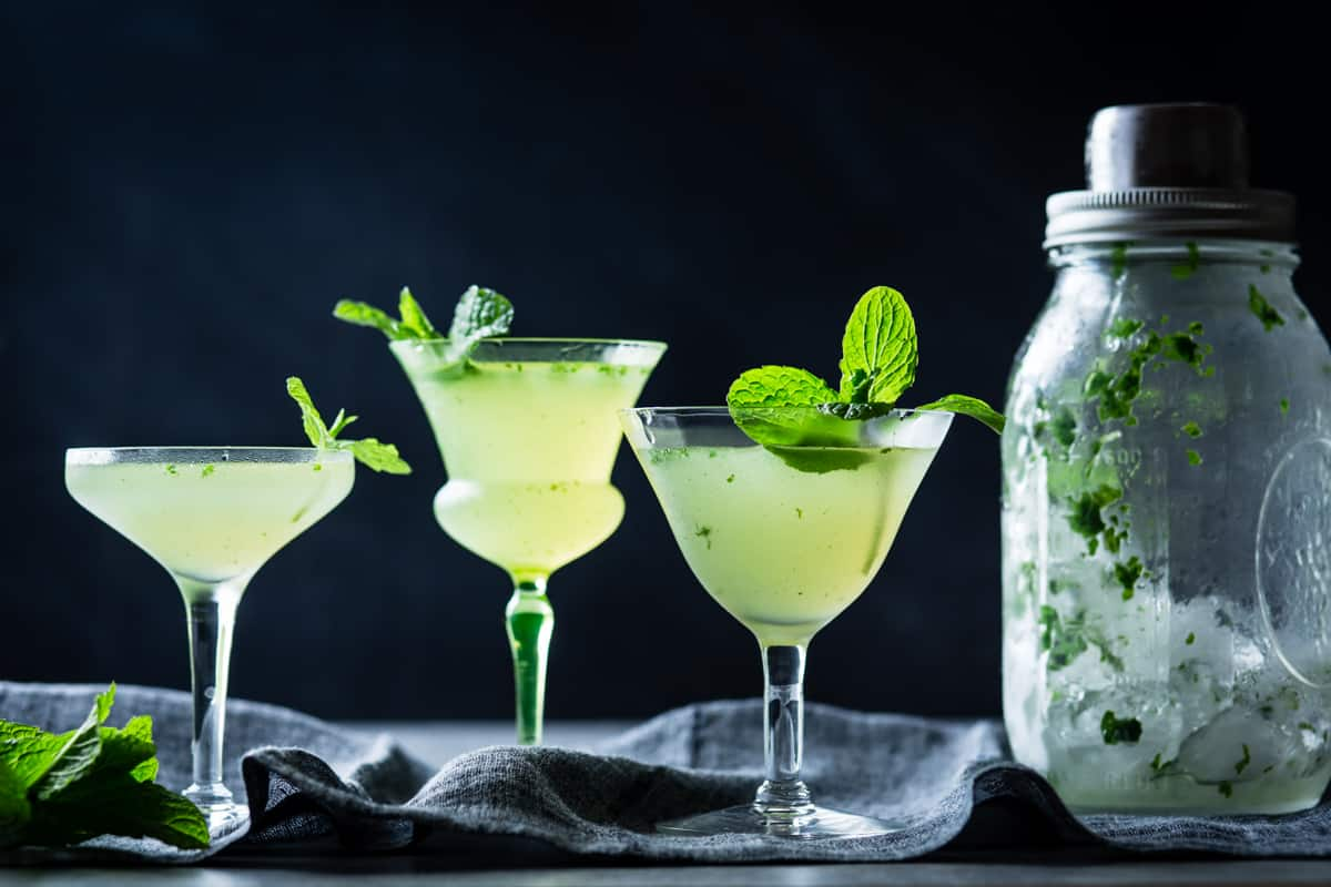 Verdant Lady {Chartreuse, Gin & Mint Cocktail} in glasses