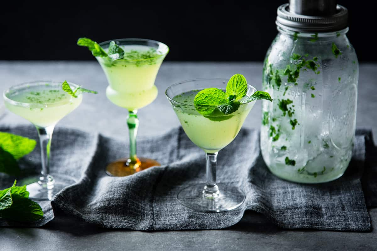 3 glasses of Verdant Lady {Chartreuse, Gin & Mint Cocktail}
