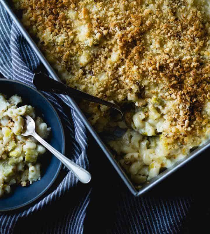 tray of creamy cardoon macaroni and cheese {gluten-free}