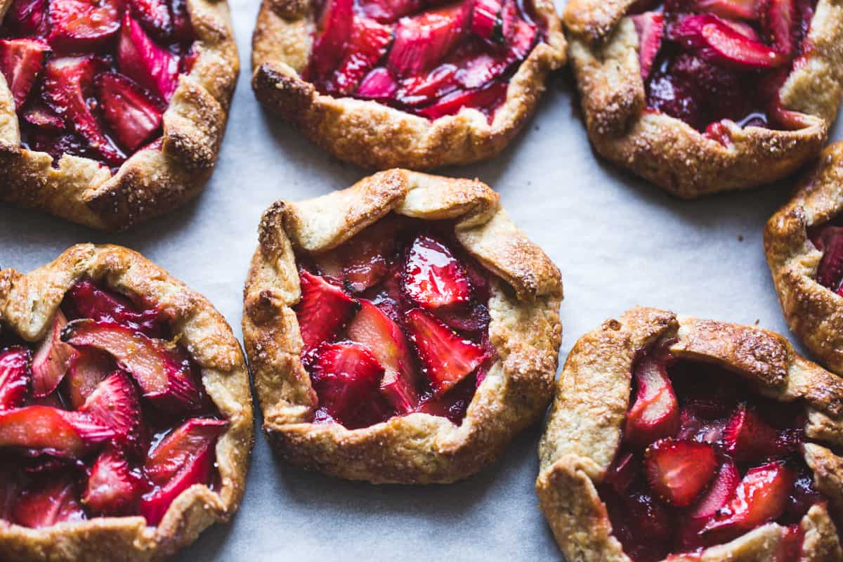 Strawberry Rhubarb Rose Galettes {gluten-free}