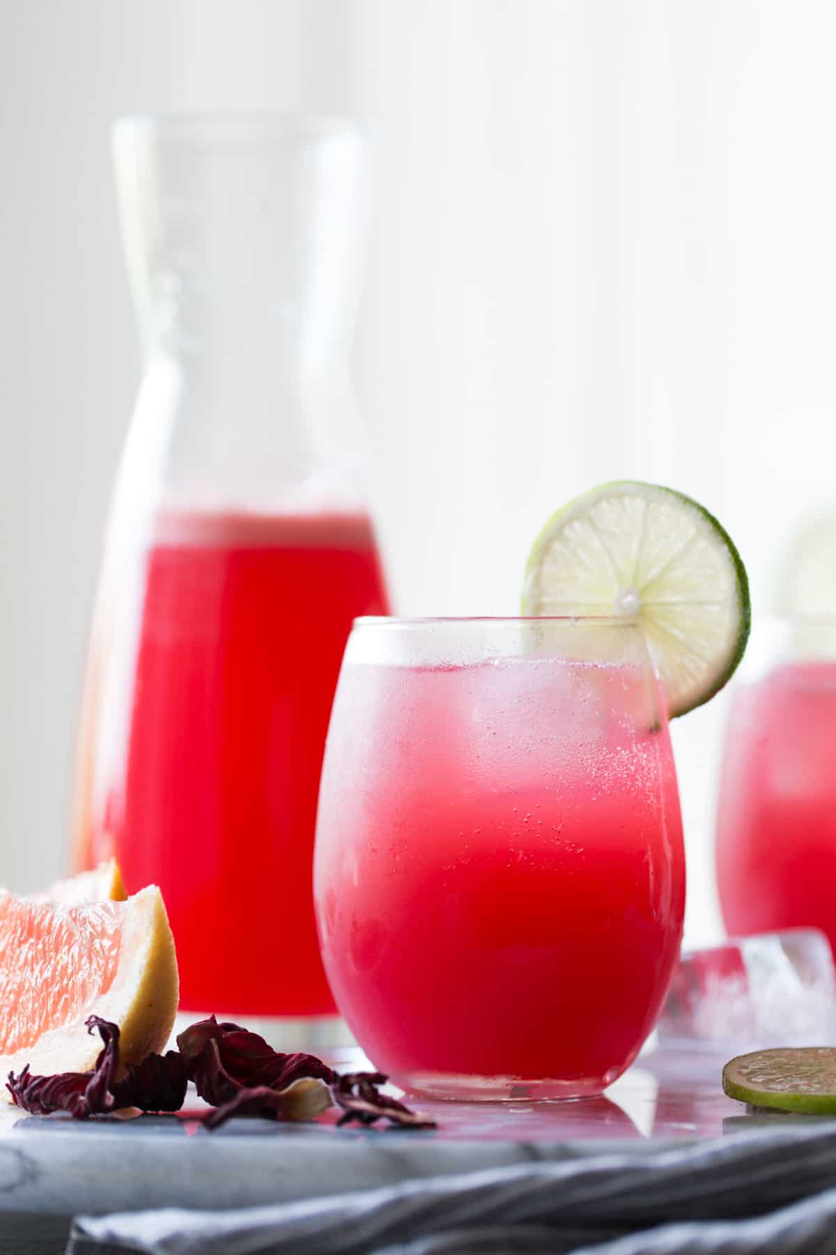 glass of Hibiscus Ginger Palomas