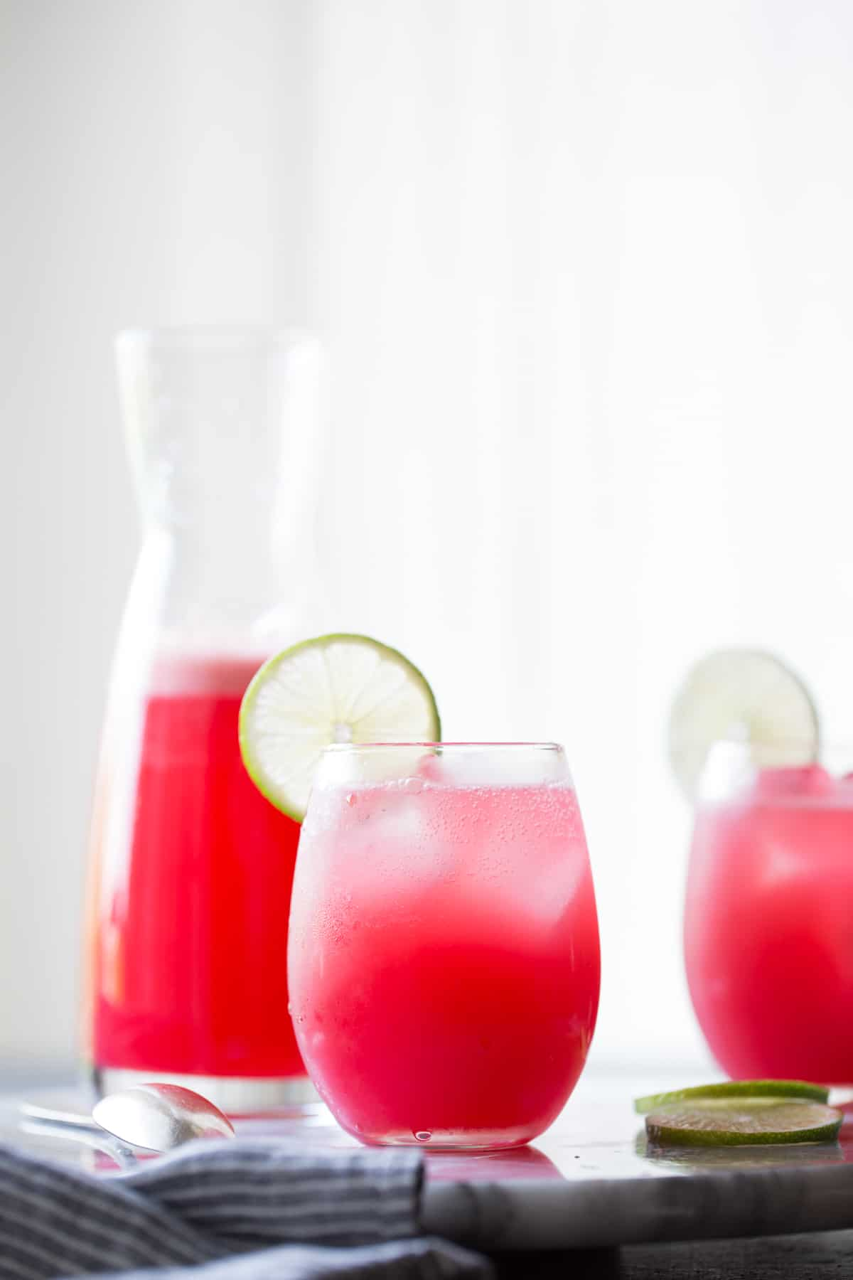 2 glasses of Hibiscus Ginger Palomas