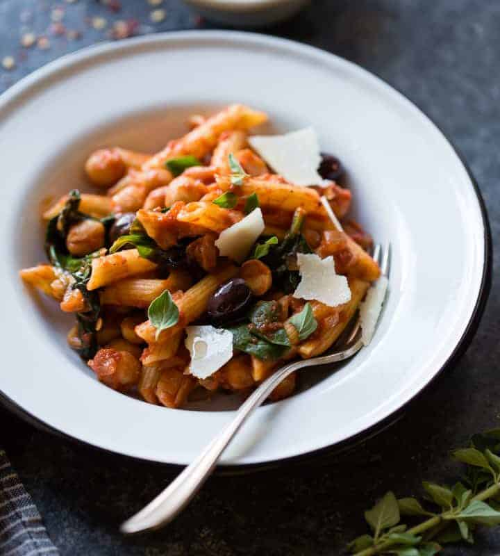 Spicy Tomato Chickpea Pasta {gluten-free, vegan option}
