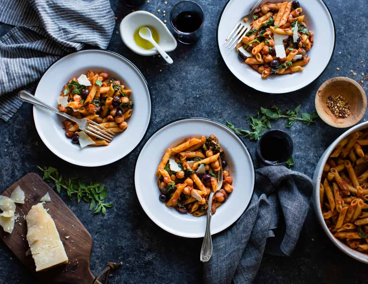 Spicy Tomato Chickpea Pasta {gluten-free, vegan option} on table
