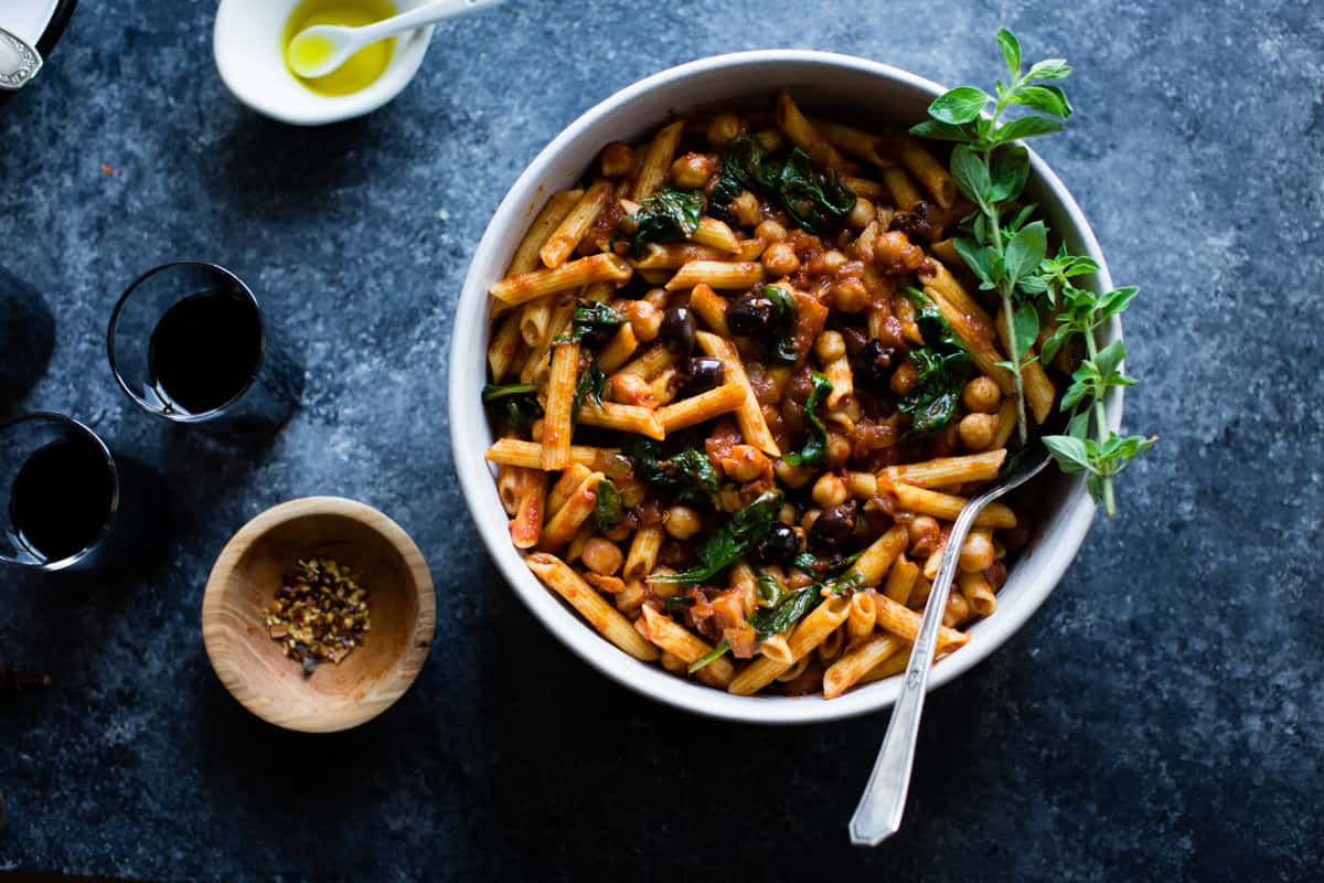 bowl of Spicy Tomato Chickpea Pasta {gluten-free, vegan option}