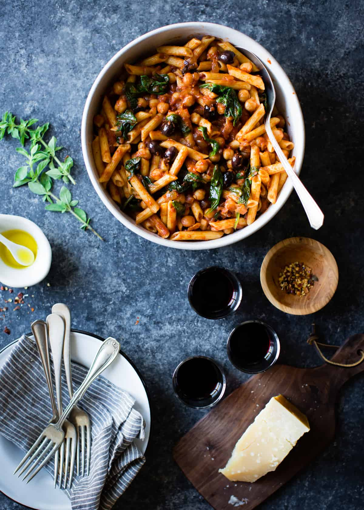 big bowl Spicy Tomato Chickpea Pasta {gluten-free, vegan option}