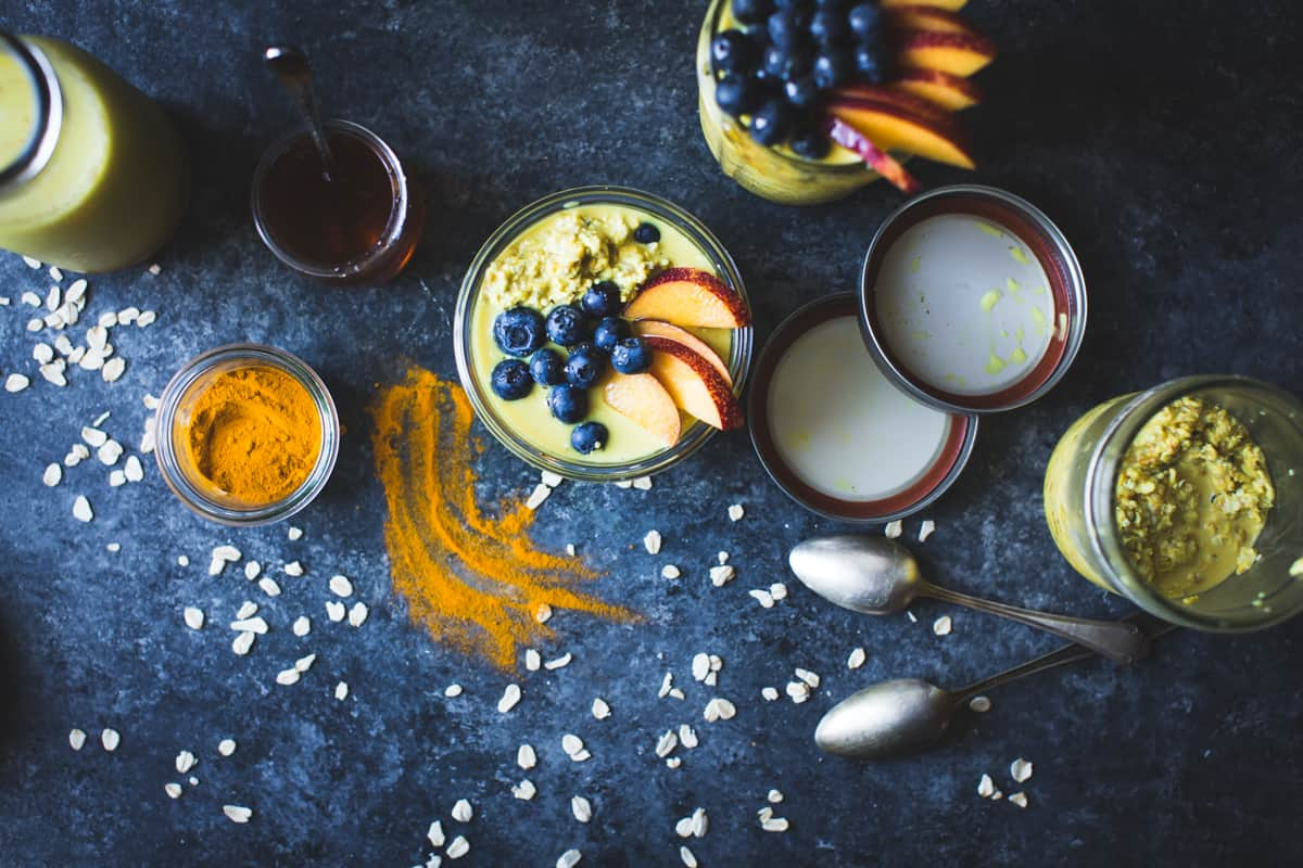 Golden Milk Overnight Oats with Turmeric, Spices, and Honey {gluten-free, vegan}