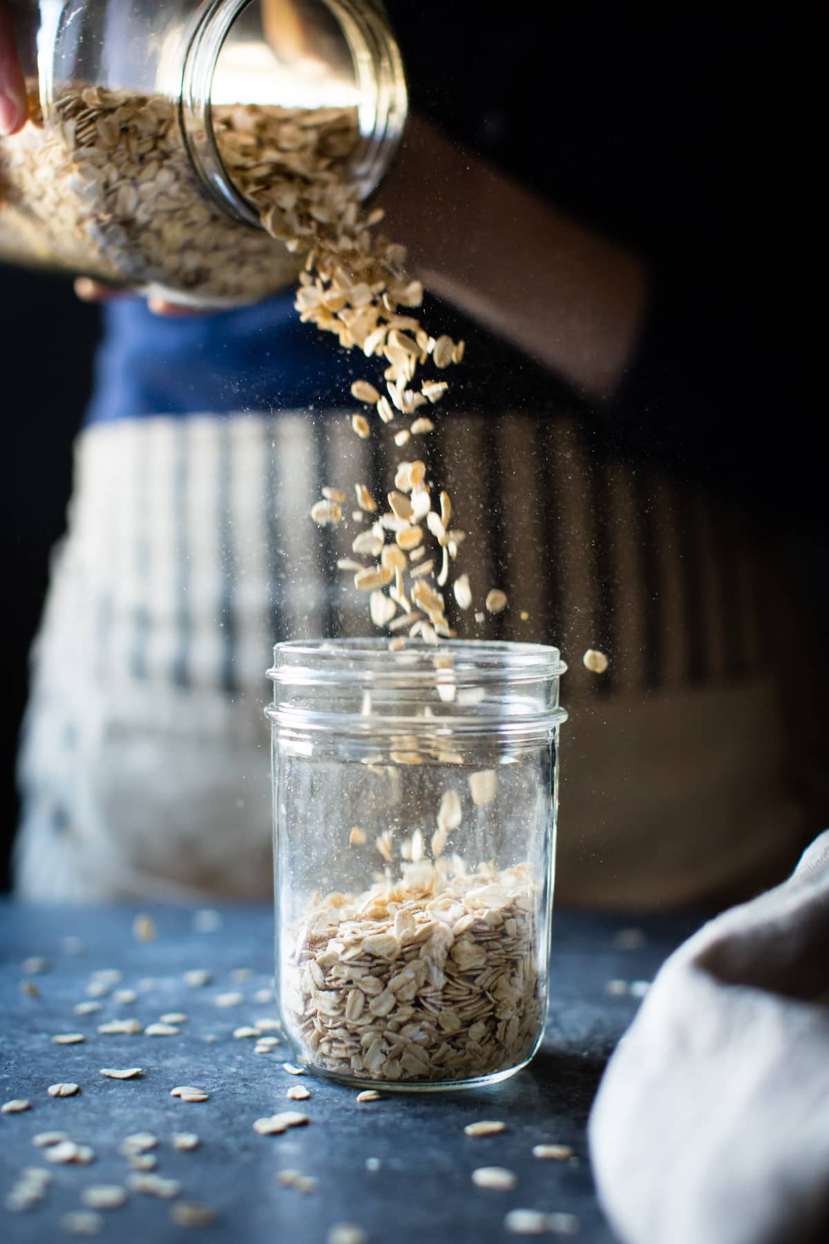 oats poured into jar