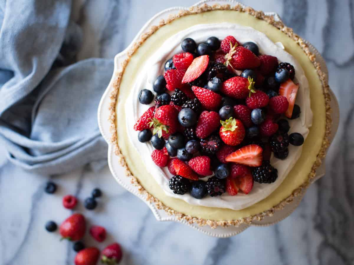 No-Bake Lemon Berry Coconut Cream Tart {vegan, gluten-free, refined sugar-free} on stand
