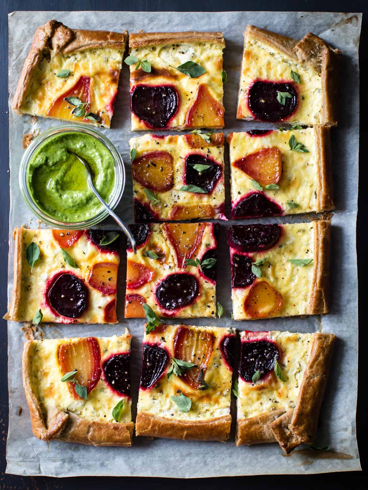 Ricotta Beet Tart with Beet Green Pesto