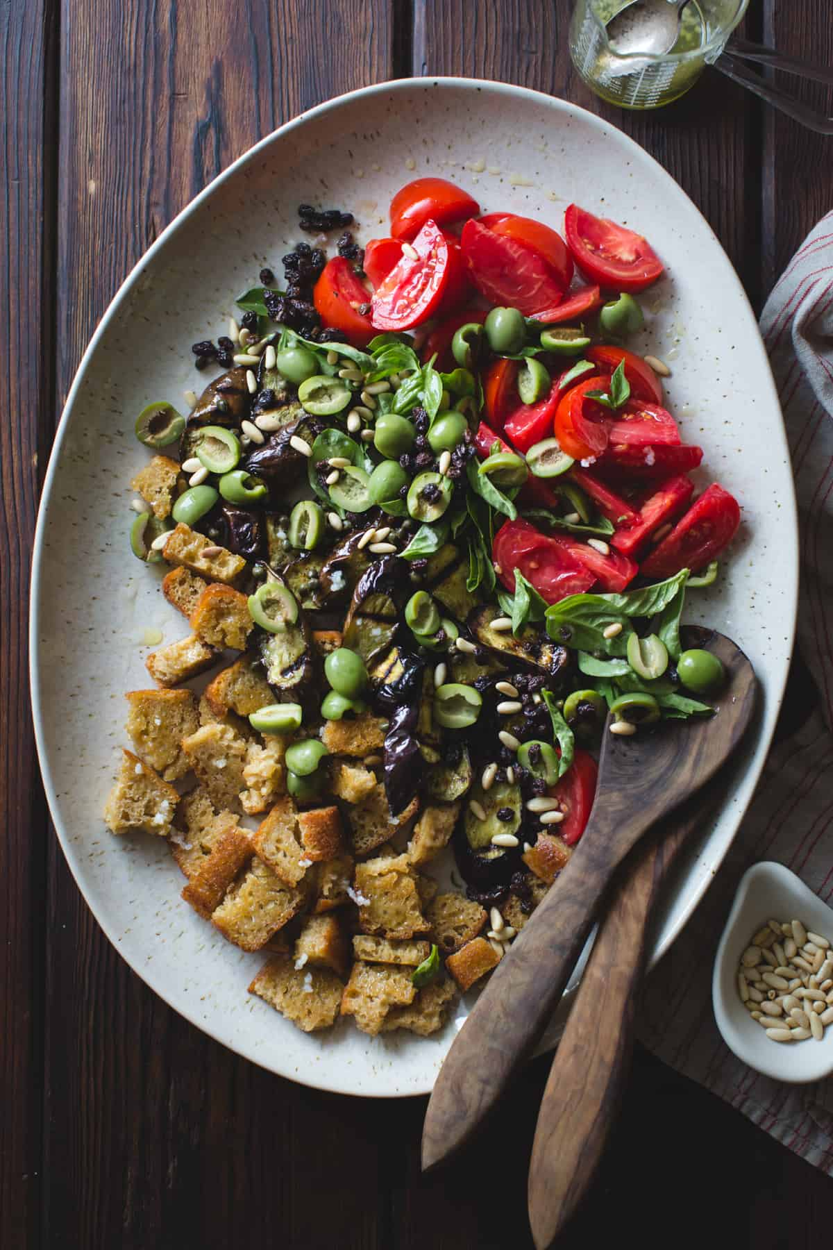 Roasted Eggplant Panzanella with Capers, Olives, and Pine Nuts {gluten-free, vegan option}