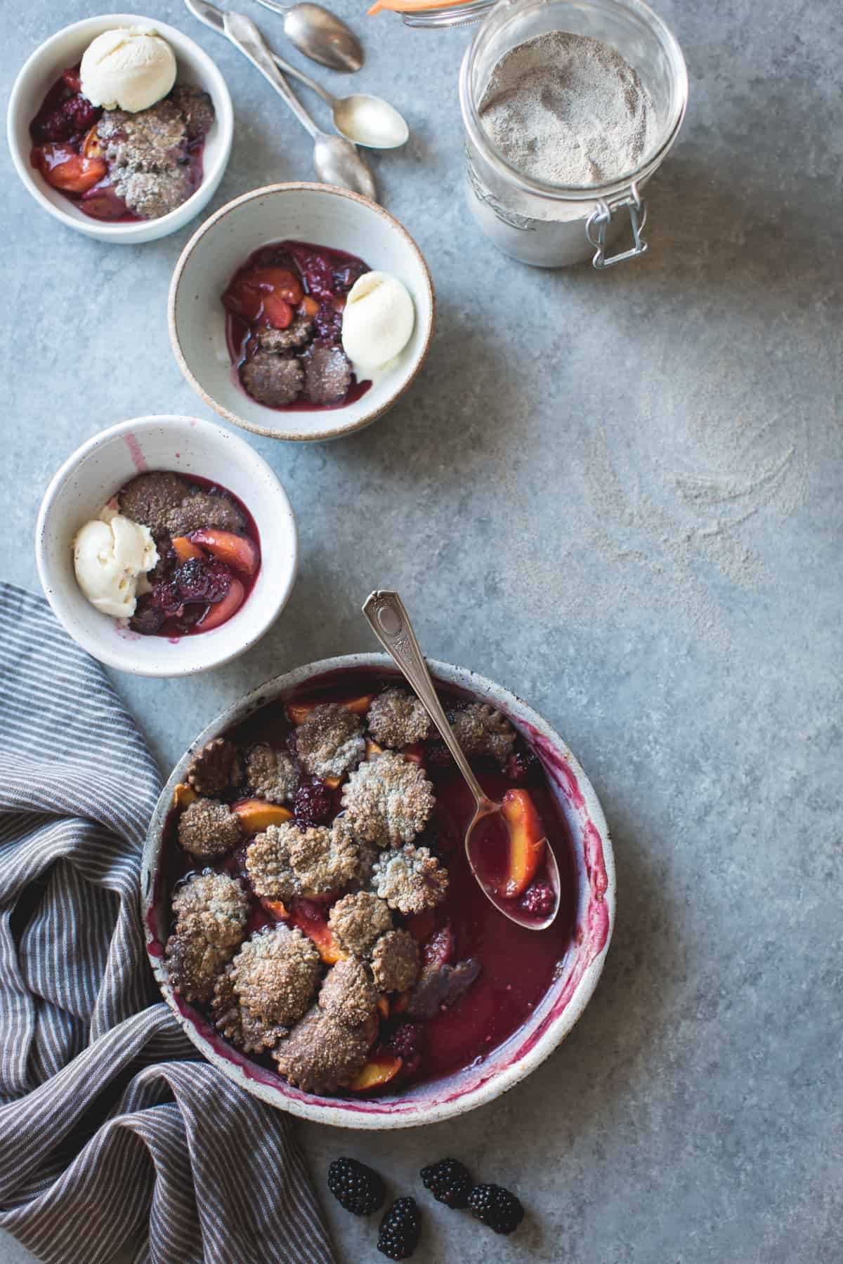 bowls of Blackberry Peach Buckwheat Pandowdy + Toasted Buckwheat Ice Cream {gluten-free}