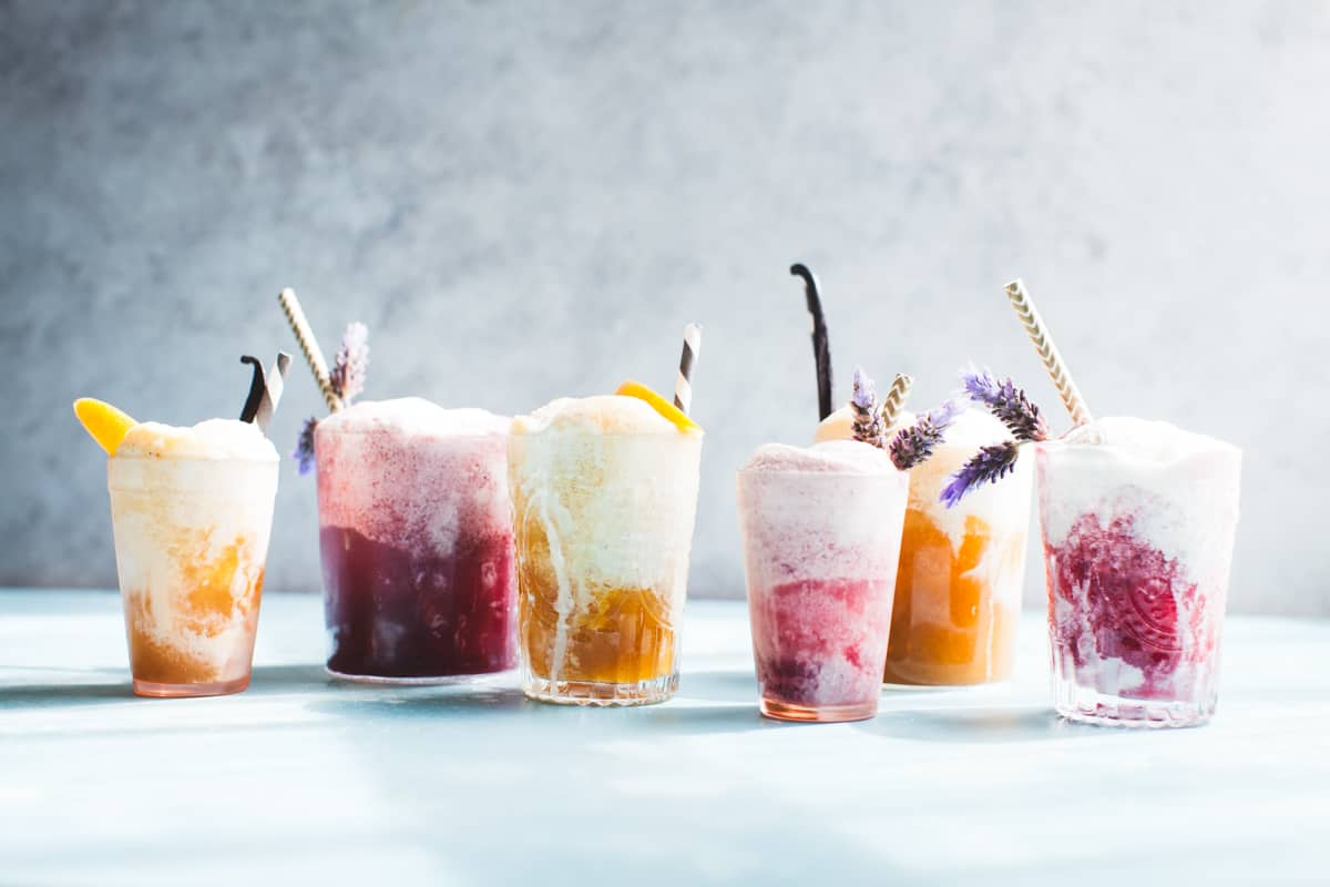 row of Vanilla Rooibos Peach Ice Cream Floats {vegan}