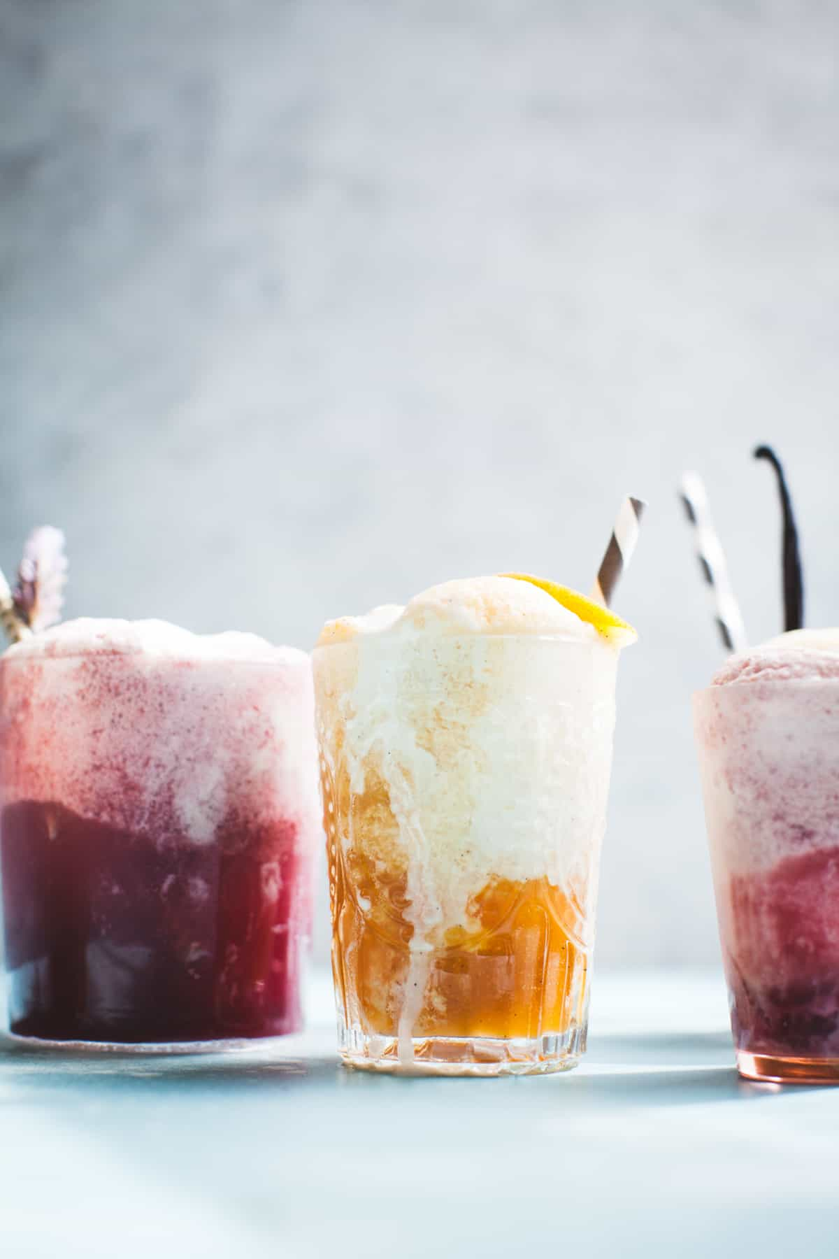Vanilla Rooibos Peach Ice Cream Floats {vegan} with straws