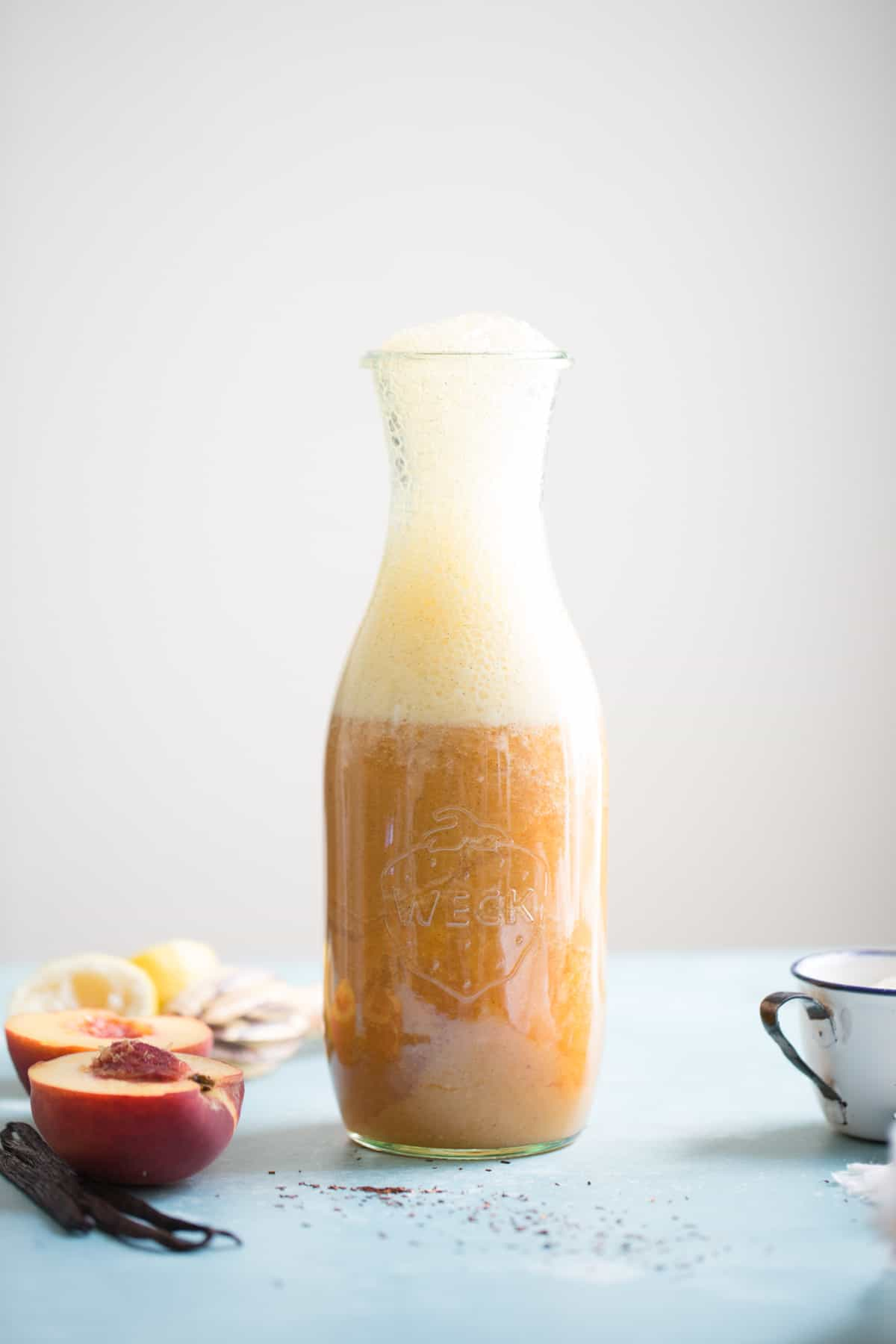 receptacle of Vanilla Rooibos Peach Ice Cream Floats {vegan}