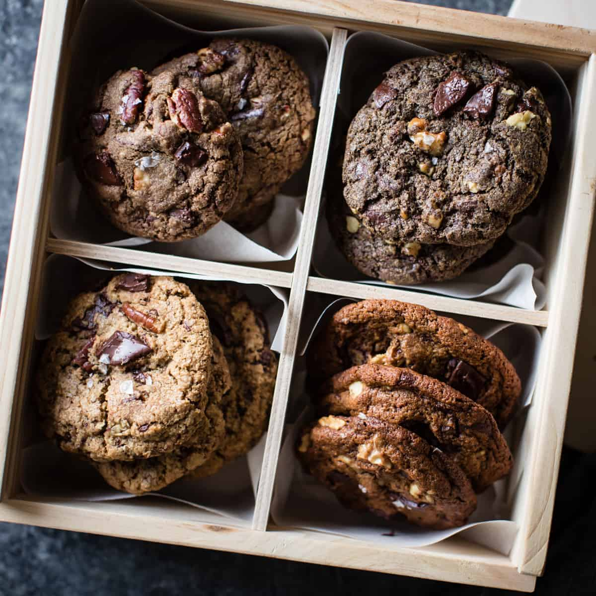 Gluten-Free Chocolate Chip Cookies Four Ways: Oat, Teff, Buckwheat, Mesquite